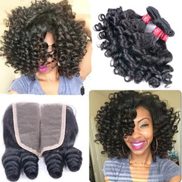Wholesale Human Hair Romance Curls - Unprocessed Aunty Funmi Hair With Closure Cheap Bouncy Romance Curls Virgin Peruvian Fumi Human Hair Weave Bundles With Lace Closures Piece