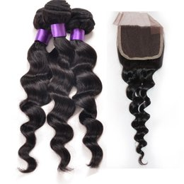 Wholesale Modern Hair Show - Peruvian Loose Wave With Closure 3 Hair Bundles With Lace Closures Modern Show Hair With Closure Peruvian Loose Wave Closure Free shipping