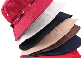 Wholesale 2016 New Summer Women and Men Foldable Sun Beach Hat Bucket Hat Basin Caps Rope Fishing Hat Colors