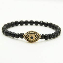 Wholesale 6mm Faceted - Wholesale 10pcs lot 6mm Natural Faceted Black Onyx Stone Beads with Black Turkish Lucky Eye Cz Bead Bracelets