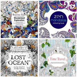 Wholesale Colouring Book Wholesalers - 2016 Adult Coloring Books 4 Designs Secret Garden Lost ocean Time travel Zen Mandalas 24 Pages Kids Adult Painting Colouring Books