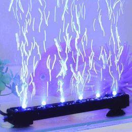 Bande de poisson en Ligne-Divers blanc / bleu aquarium sous-marin LED lumière Air Stone Bubble Fish Tank rideau d'air submersible LED lampe Strip AC110-220V