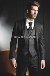 Wholesale Mens Wedding Suit Flowers - Wholesale- 2017 New Arrival Black Flower Vest Male Groom Tuxedo Wear Mens Dress Suits Formal Wedding Suits For Men (Jacket+Pants+Vest+Tie)