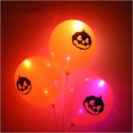 Wholesale Latex Fashions For Kids - Fashion Design Kids Toys Halloween Party LED Latex Pumpkin Balloons Flashing Balloons For Party Decoration ELT051