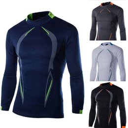 Wholesale Base Tee - 2016 4 color Print Bi-arc Compression Base Layers Mens T Shirts Long sleeve Fit Skins Gear Thermal Tops Tee