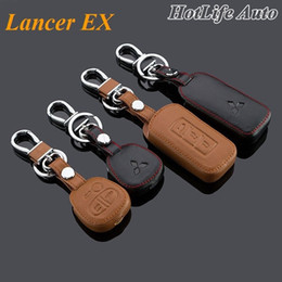 Wholesale Cover For Car Key Fobs - 2014 Mitsubishi Lancer EX Lancer Car Keychain Leather Key Fob Case Cover for 2004- 2014 2015 Lancer EX Key Chain Car Accessories
