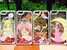 Wholesale Fairy Cases - Flower Fairy Princess Quicksand Mobile Phone Case for iPhone 6 4.7inch 6s plus 5.5'' Sailor Moon Falling Liquid Glitter Protect cover Case