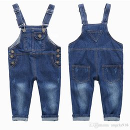 Wholesale Suspender Trousers Jeans - Baby Boys Girl Suspender Jeans 2016 New Fashion Denim Sling Pants Kids Trousers Pants Child Sling Trousers Free shipping E1160