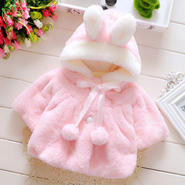 Wholesale Girl Long Pink Fur Coat - Baby Infant Girls Fur Winter Warm Coat Cloak Jacket Thick Warm Clothes Baby Girl Cute Hooded Long Sleeve Coats