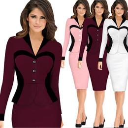 Wholesale Ladies Long Winter Robe - top fashion vestidos mujer plus size woman robe Autumn winter long sleeve elegant bodycon dresses ladies office work dress free shipping