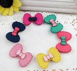 Wholesale Baby Girl Stickers Free Shipping - Free shipping kids Korean version of the hair band,bow girls post Hairpin,sweet princess magic stickers Hair Accessories,baby gift.40pcs.XF