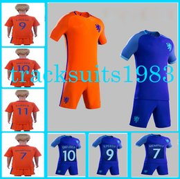 Wholesale Netherlands Away - Netherlands Kids Jerseys Holland child teens Shirt 9 V PERSIE #10 SNEIJDER #11 ROBBEN European Cup Home Away 2016 2017 Season rugby