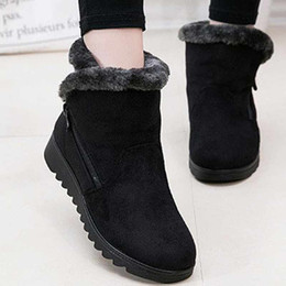 Wholesale Leather Fashion Boots For Women - New Winter Women's Boots New Design Ladies Winter Shoes Fashion Ankle Boots 2017 Flat with Keep Warm Cozy Snow Boots for Women