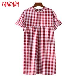 Wholesale Vintage Butterfly Sleeve Dress - Wholesale- Tangada Fashion Women Red Plaid Dress School Style 70s Vintage Dresses Butterfly Sleeve O-Neck Back Bow Tie Loose Sundress FF3