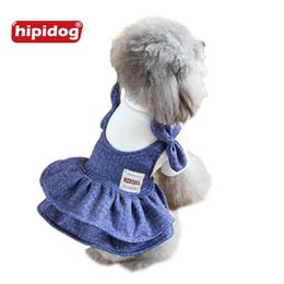 Wholesale Overalls Male Female - Hipidog New Arrival Spring Autumn Dog Demin Jeans Skirt Shirt Clothes Pet Puppy Overalls Dress Coat Jacket for Small Dogs