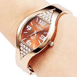 Wholesale Rhinestone Bangle Watch - Fashion High-grade Ladies Rose Gold Bracelet Watch Bangle Rhinestone Crystal WristWatch Working Women Watch Luxury Watches Wholesale