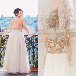 Wholesale Open Back Wedding Dresses Prices - Elegant 2016 Plus Size Wedding Dresses Tulle Long Sleeve Bridal Gowns Beaded Body Sexy Open Back Sparkly Beading Custom Made Cheap Price