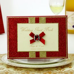 Wholesale Red Guest Book - Handmade Red Wedding Guest Book Wedding Favors Wedding Supply Signature Book