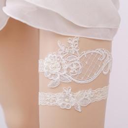 Wholesale Garter Accessories - 2pcs Wedding Bridal Garter White Lace Flower Rhinestone Garter Women Bride Garter Set Accessories free shipping