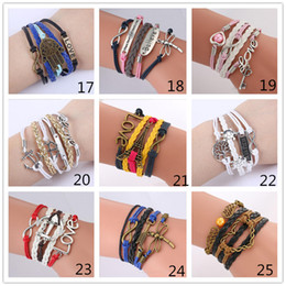 Wholesale Antique Bangle Bracelets - 55 Styles Infinity Charm Bracelets Multilayer Woven Leather Bracelets Antique Cross Anchor Love Peach Knitting Bronze Diy Charm Bangles