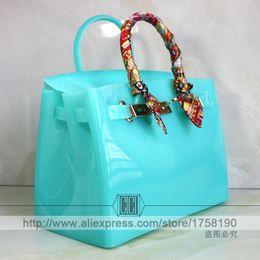 Wholesale Beach Camel - Wholesale-Hot sale popular turquoise bag female handbag plastic PVC waterproof rubber bags jelly beach bags candy color women purse