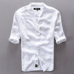 Wholesale Business Casual Clothes For Men - Wholesale-Brand clothing Linen Men Shirts Short Sleeve Mens Casual Business cotton dress shirt for men camisa masculina chemise homme