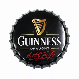 Wholesale Bottle Cap Art - Guinness Beer Round Bottle Cap vintage Tin Sign Bar pub home Wall Decor Metal art Poster