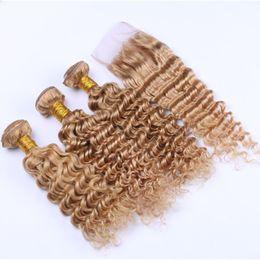 Wholesale Honey Strawberry Blonde - Deep Wave #27 Strawberry Blonde 4x4 Lace Closure With Bundles Honey Blonde Deep Wavy Peruvian Virgin Hair With Lace Closure
