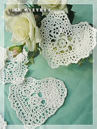 Wholesale Hand Crocheted Doilies - Wholesale- Free shipping wholesale 100% cotton hand made Shaped Heart Crochet Doily ,cup mat 20PCS LOT Whtie and Ecru crochet applique