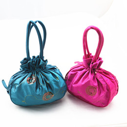 Wholesale Satin Drawstring Favor Bags - Large Embroidery Sequins Satin Fabric Gift Bags with Handles Birthday Party Favor Bags Drawstring Tote Purse Coin Pocket Packaging Pouch