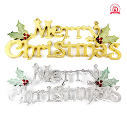Wholesale b letter pendant - Merry Christmas Pendant Plastic Electroplated Door Ornament English Letter Tag Decortions Without Lifting Rope Gold Sliver 8 08pj B R
