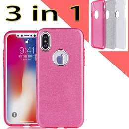 Wholesale Iphone Metal Protector - 3 in 1 hybrid TPU PC Glitter Bling Metal button case For iPhone X 8 7 6s plus Samsung S7 edge S8 Note 8 Protector Phone Back Covers