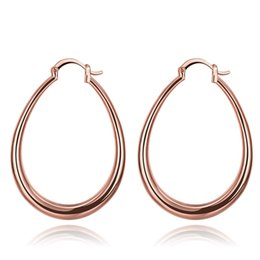 Wholesale 14k white gold hoops - 18K Gold Plated Rose Gold Earrings Fashion Classic Big Round Hoop Earrings Huggie for Sexy Women New Design Factory Price for Christmas Gift