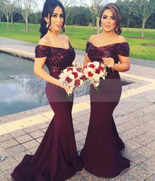 Wholesale Off White Dresses For Women - Burgundy Sequined Mermaid Bridesmaids Dresses New Arrival Off the shoulder Wedding Party Gowns 2017 Long Maid of Honor Dress For Women