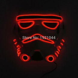Wholesale Movie Candy Boxes - 10 color choice Sound activated fashion Movie Theme Halloween Mask EL Wire LED Neon light Glow Party Mask Powered by 2AA Battery