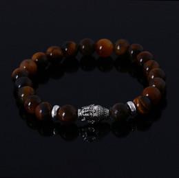 Wholesale Tiger Eye Bracelet For Women - Lava Stone Buddha Beads Bracelet Natural Stones Bracelets for women and Men Jewelry tiger eye stone beads Pulseras mujer Best gift