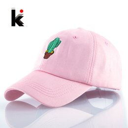 Wholesale Girl S Summer Hats Caps - Spring Women 'S Cap Snapback Pink Cactus Embroidery Dad Hat Men 'S Summer Baseball Caps Hip Hop Hats For Girls Casquette Homme