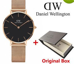 Wholesale Mesh Watches - 2017 top luxury brand Daniel women men Wellington's fashion dw steel mesh rose gold mens watches montre femme relojes