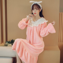 Wholesale Plus Size Pink Nightgown - 2017 Winter Flannel Women Pajamas Princess Wind Nightgown Lovely Pink Size Plus Long Sleeve Home Wear Women Sleepwear Loose Round Collar