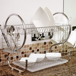 Wholesale Plates Bowls - 1 Pc S-Shaped Dish Rack 2 Layers Kitchen Dish Shelf Plate Cup Bowl Drain Rack Cutlery holder Rack