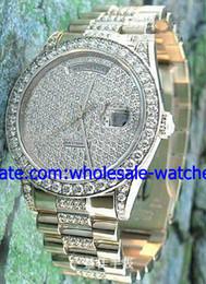 платиновые часы мужские Скидка Оптовая продажа-роскошные алмазные вечный день дата автоматические платиновые мужские часы механические спортивные мужские часы