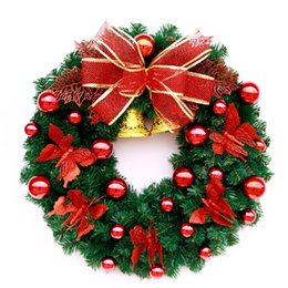 Wholesale hanging wreath - Merry Christmas Garland With Small Bell Tree Ornament Display Flower Practical Gift Wreath Door Hanging Home Decor 65tz F R