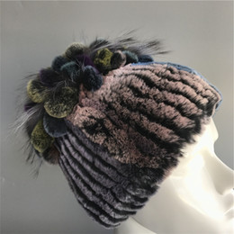 knitted rex rabbit fur hat 2018 - Multicolor-Genuine Natural Fur Hat Rex Rabbit Fur Knit Silver Fox Fur Flower Ball Cap