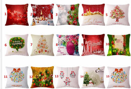 Wholesale Home Decorative Gifts - Decorative throw pillows case Merry Christmas Gift Cotton Linen Seat Cushion Cover For Sofa Home Decor funda cojines pillowcase