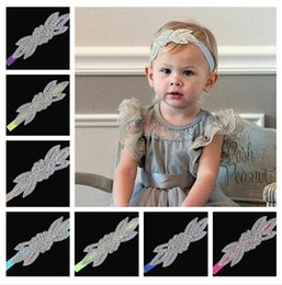 Wholesale Headbands Diamond Leaves - Christmas 2016 selling children's headwear DIY hand-beaded diamond upscale baby hairband Pearl leaves newborn girl headflower E220