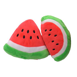 Wholesale Toy Pets Cat Free Shipping - New Pet Cat & Dog Toy Plush Sound Cute Watermelon Two Kinds Of Shapes Free Shipping L033