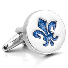Wholesale Cufflink Silver Plate - Men's 2PCS Rhodium Plated Enamel Cufflinks Silver Blue Knight Fleur De Lis Shirt Wedding Business 1 Pair Set Classic