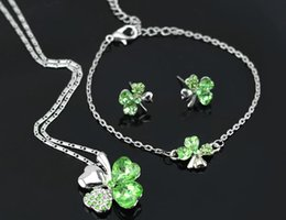 Wholesale Austrian Crystal Clover Leaf - Free Shipping Wholesale Austrian Crystal Clover four Leaf Leaves Pendant Necklace Earrings Bracelet 11 colors Jewelry Set 9554