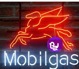 Wholesale Gas Signs - Brand New Larger Mobil Gas Pegasus Beer Bar Real Glass Neon Sign Beer light