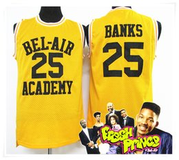 Wholesale Fresh M - (With Logo & Name) Stitched New Banks 25 Jersey Fresh Prince BEL AIR Jersey Cheap Throwback WILL SMITH Movie Retro Shirt Basketball Jerseys